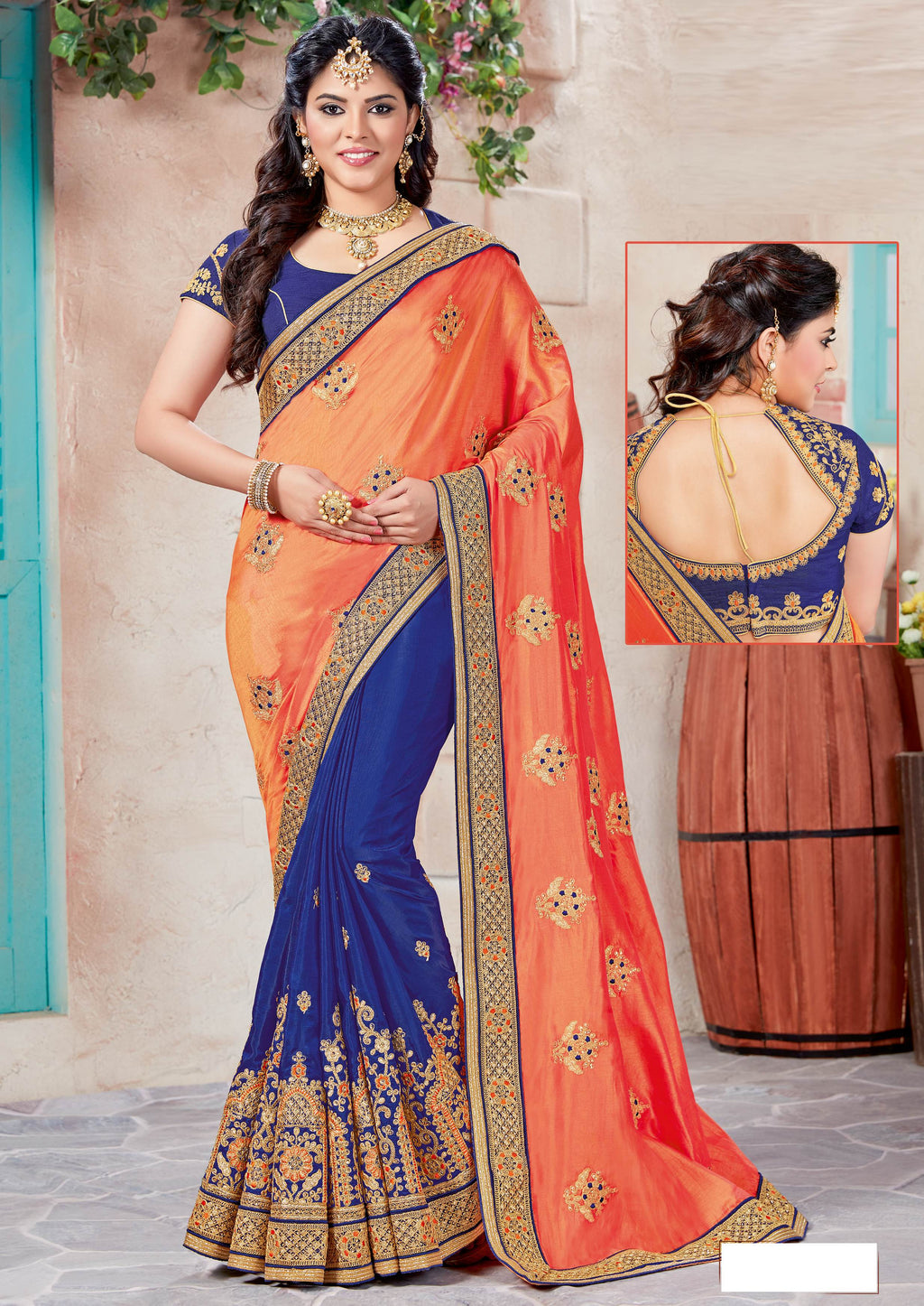 Blue & Orange Color Raw Silk Designer Party Wear Sarees  Richdelight9 Catlog SJ-10142