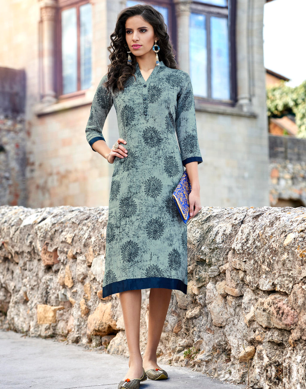 Shades Of Blue Color Rayon Readymade Party Wear Kurtis ( Sizes-40,42,44) Tanuza Jessica Catlog SJ-10464