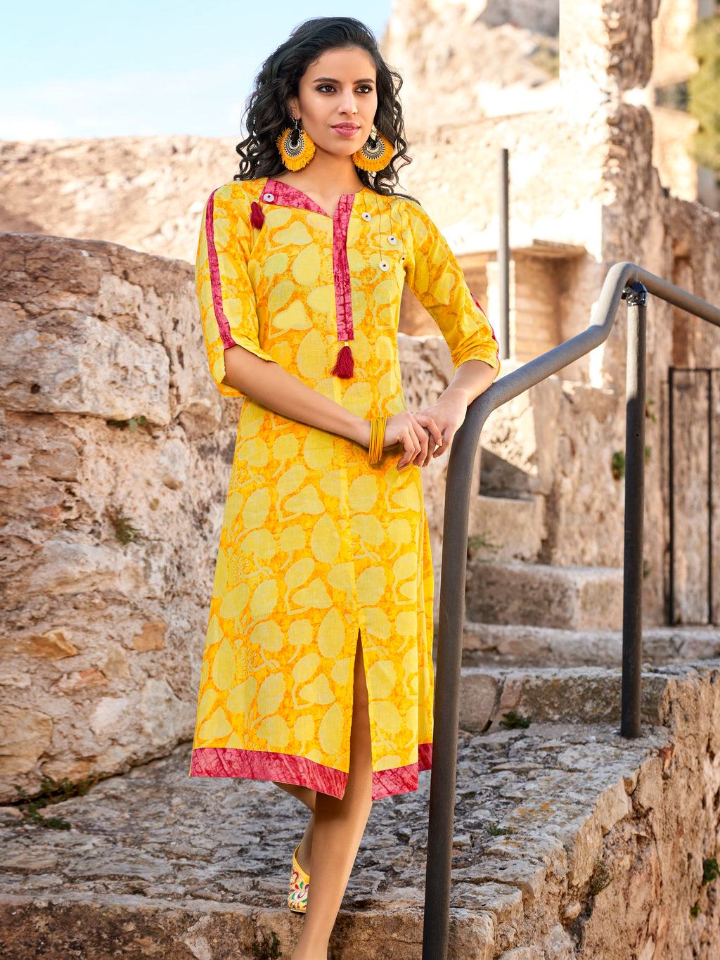Yellow Color Rayon Readymade Party Wear Kurtis ( Sizes-40,42,44) Tanuza Jessica Catlog SJ-10470