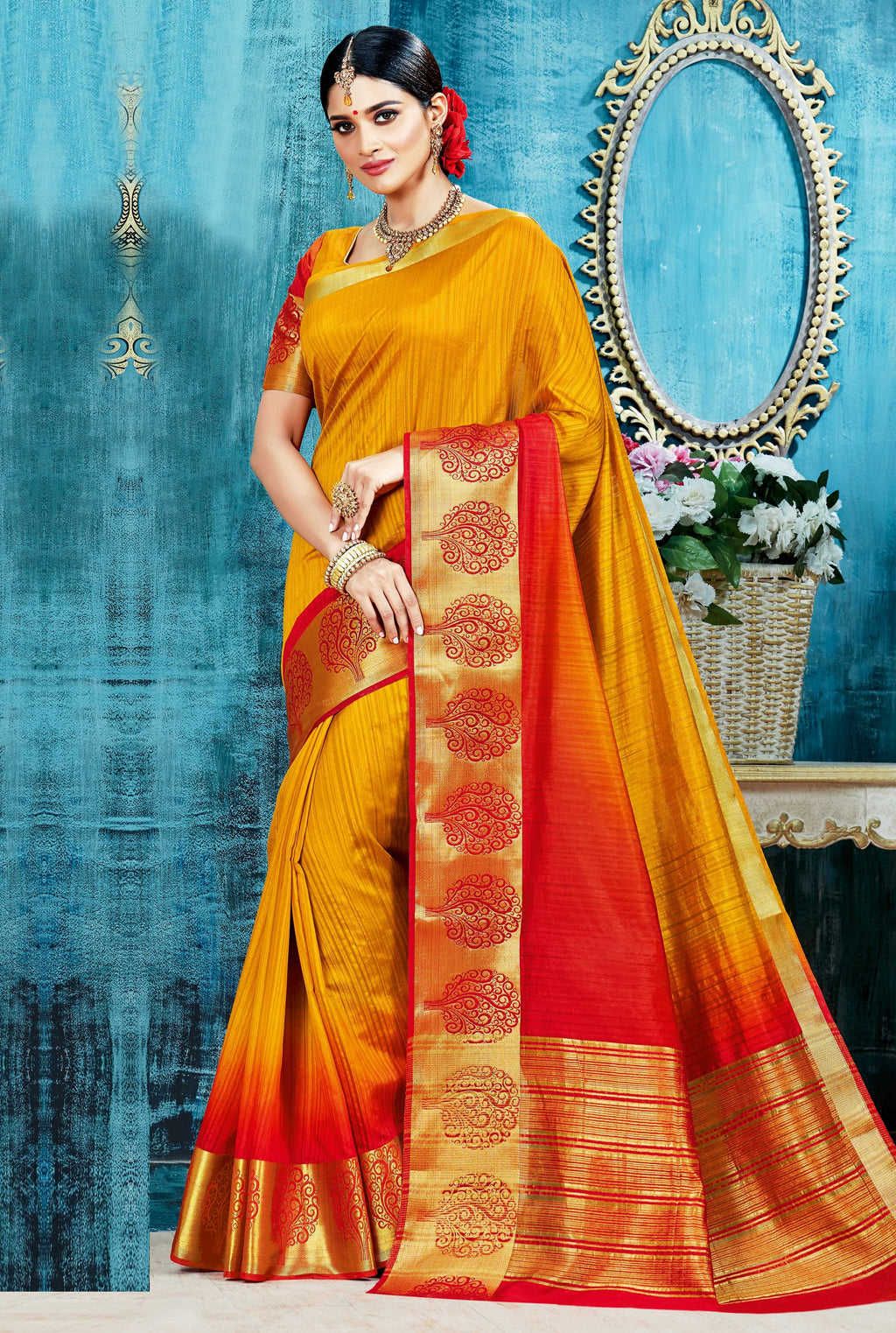 Yellow & Red Color Tusser Silk Designer Festive Wear Sarees  Mansarovar Catlog SJ-10131