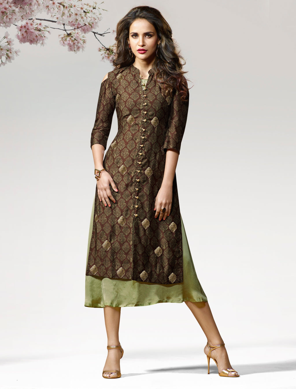 Brown Color Silk & Crepe Readymade Party Wear Kurtis ( Sizes - 38,40) Vinay TumbaTwinkle Catlog SJ-10448