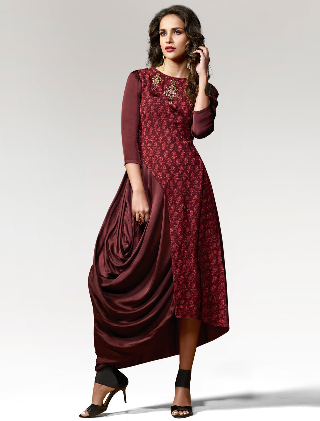Maroon Color Silk & Crepe Readymade Party Wear Kurtis ( Sizes - 38,40) Vinay TumbaTwinkle Catlog SJ-10452