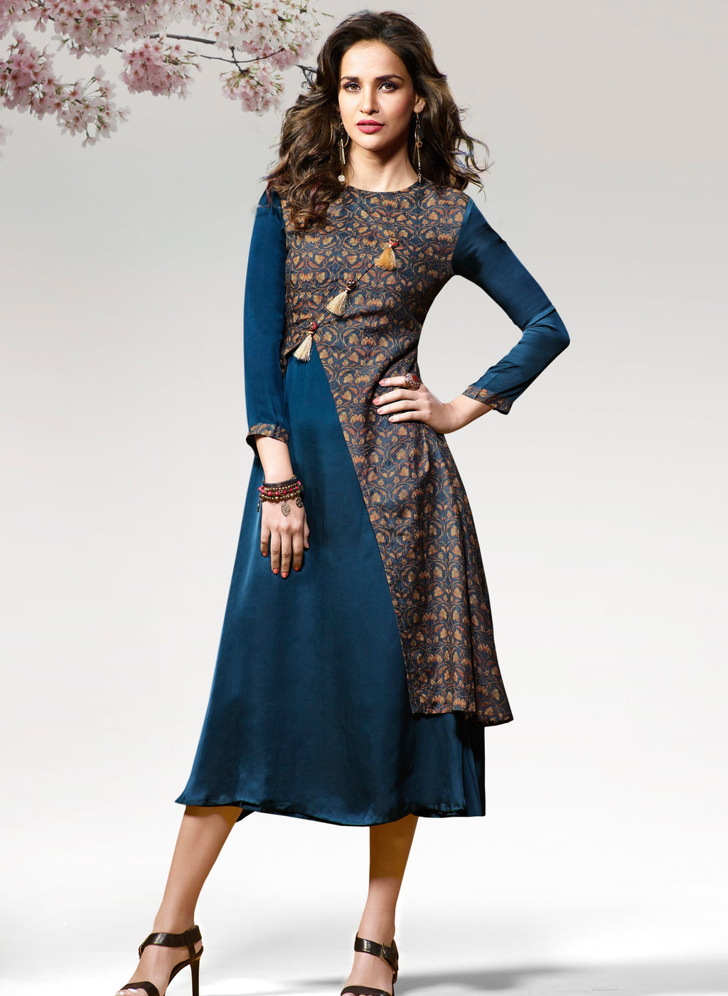 Blue Color Silk & Crepe Readymade Party Wear Kurtis ( Sizes - 38,40) Vinay TumbaTwinkle Catlog SJ-10456