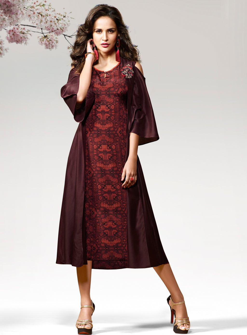 Maroon Color Silk & Crepe Readymade Party Wear Kurtis ( Sizes - 38,40) Vinay TumbaTwinkle Catlog SJ-10458