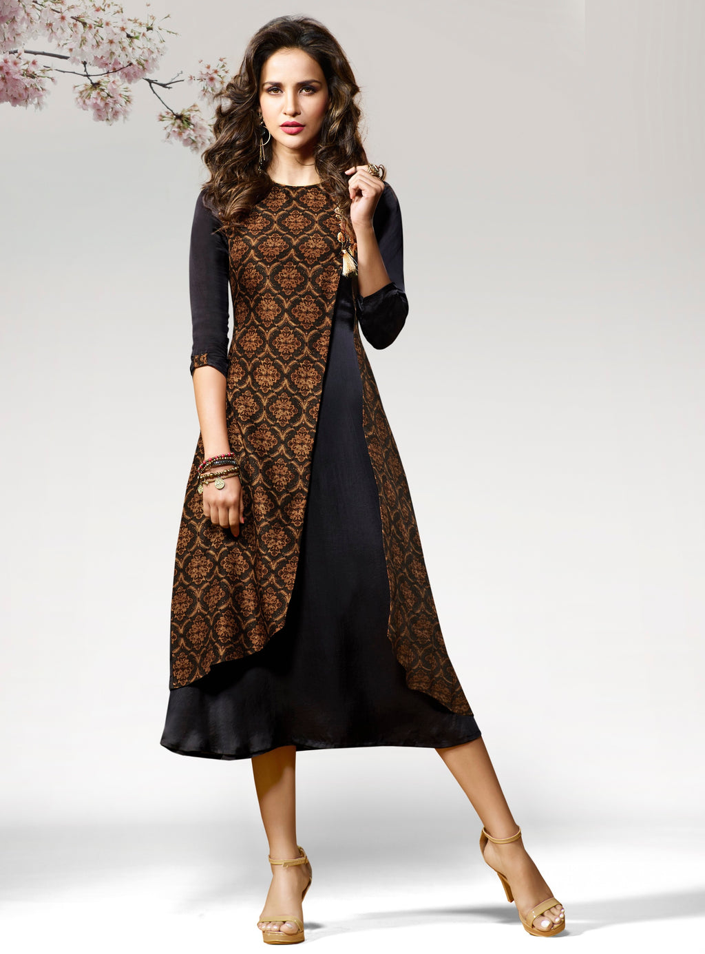 Black Color Silk & Crepe Readymade Party Wear Kurtis ( Sizes - 38,40) Vinay TumbaTwinkle Catlog SJ-10460