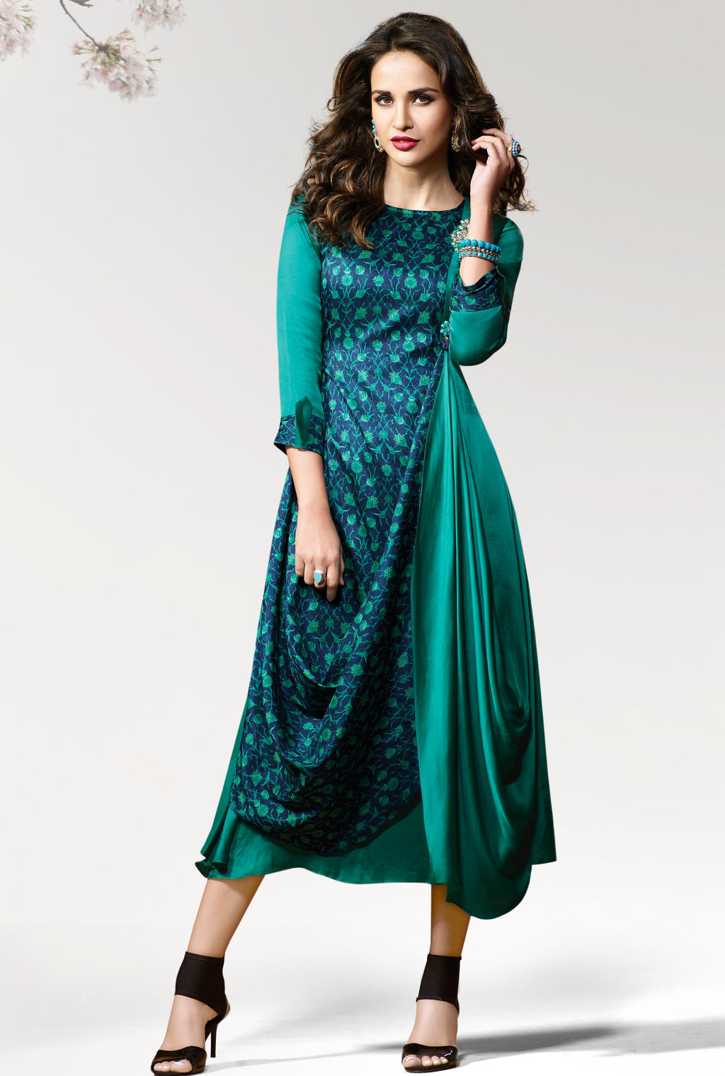 Green Color Silk & Crepe Readymade Party Wear Kurtis ( Sizes - 38,40) Vinay TumbaTwinkle Catlog SJ-10462