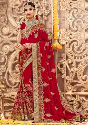 ef7e96460 Red Color Georgette Designer Wedding Sarees Laxmipati Vivaah Catlog SJ-9219
