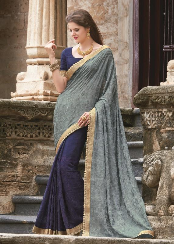 Blue & Grey Color Wrinkle Chiffon Designer Party Wear Sarees  Laxmipati-Simran Catlog SJ-3919
