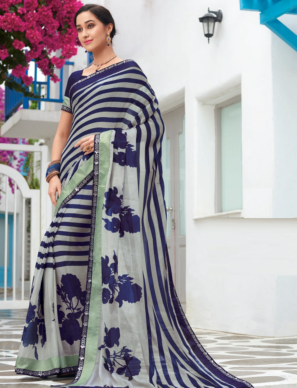 Blue & Ash Grey Color Wrinkle Chiffon Designer Party Wear Sarees  Laxmipati Pankhudi Catlog SJ-10399