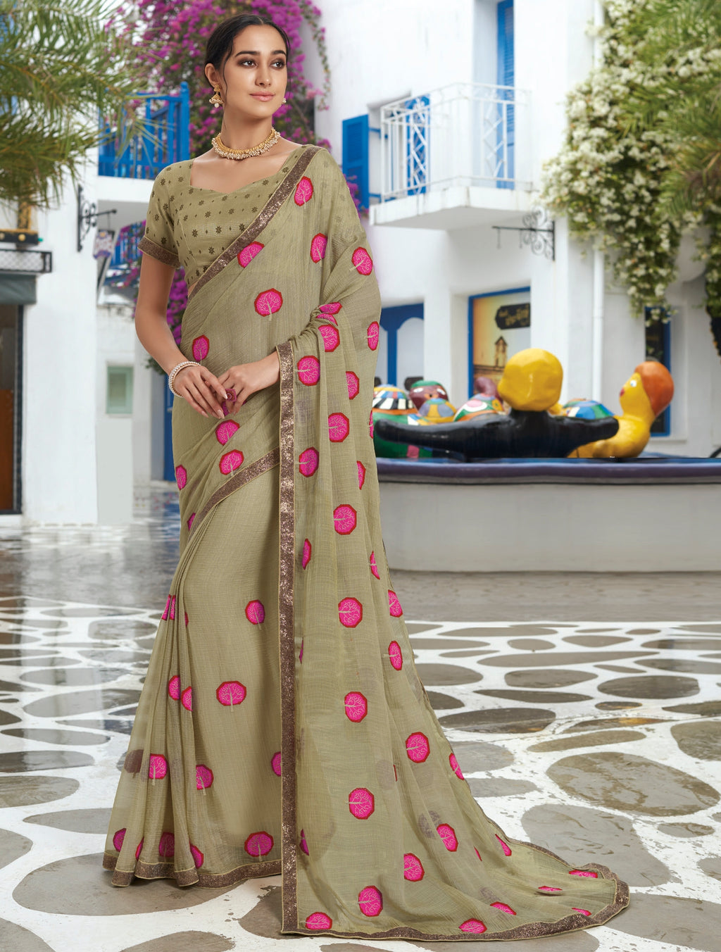 Grey Color Chiffon Designer Party Wear Sarees  Laxmipati Pankhudi Catlog SJ-10401