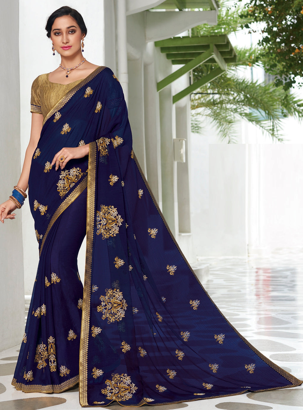 Blue  Color Chiffon Designer Party Wear Sarees  Laxmipati Pankhudi Catlog SJ-10405