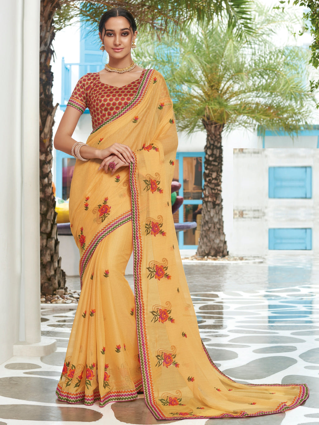 Light Orange Color Chiffon Designer Party Wear Sarees  Laxmipati Pankhudi Catlog SJ-10406