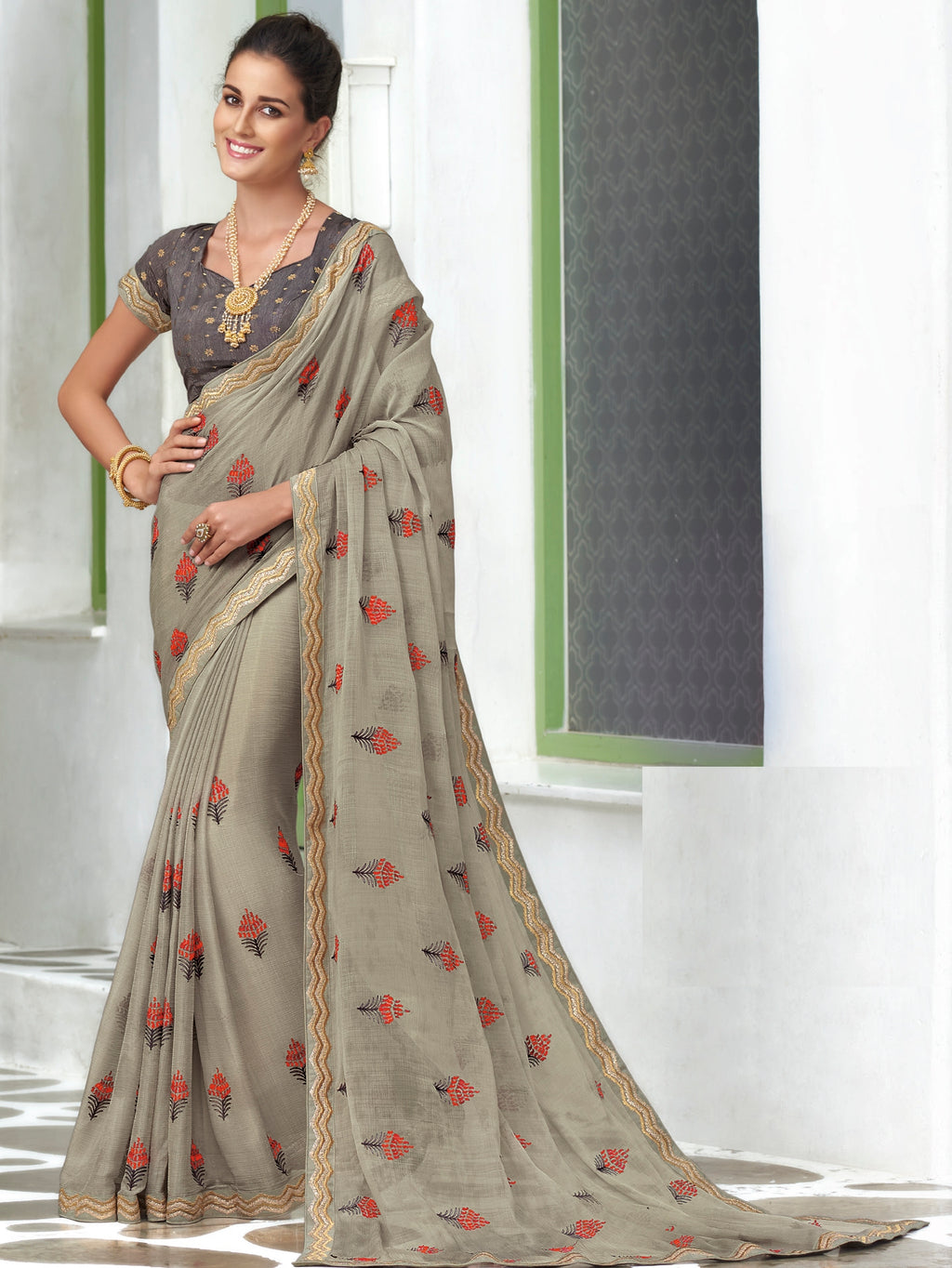 Light Grey Color Chiffon Designer Party Wear Sarees  Laxmipati Pankhudi Catlog SJ-10407