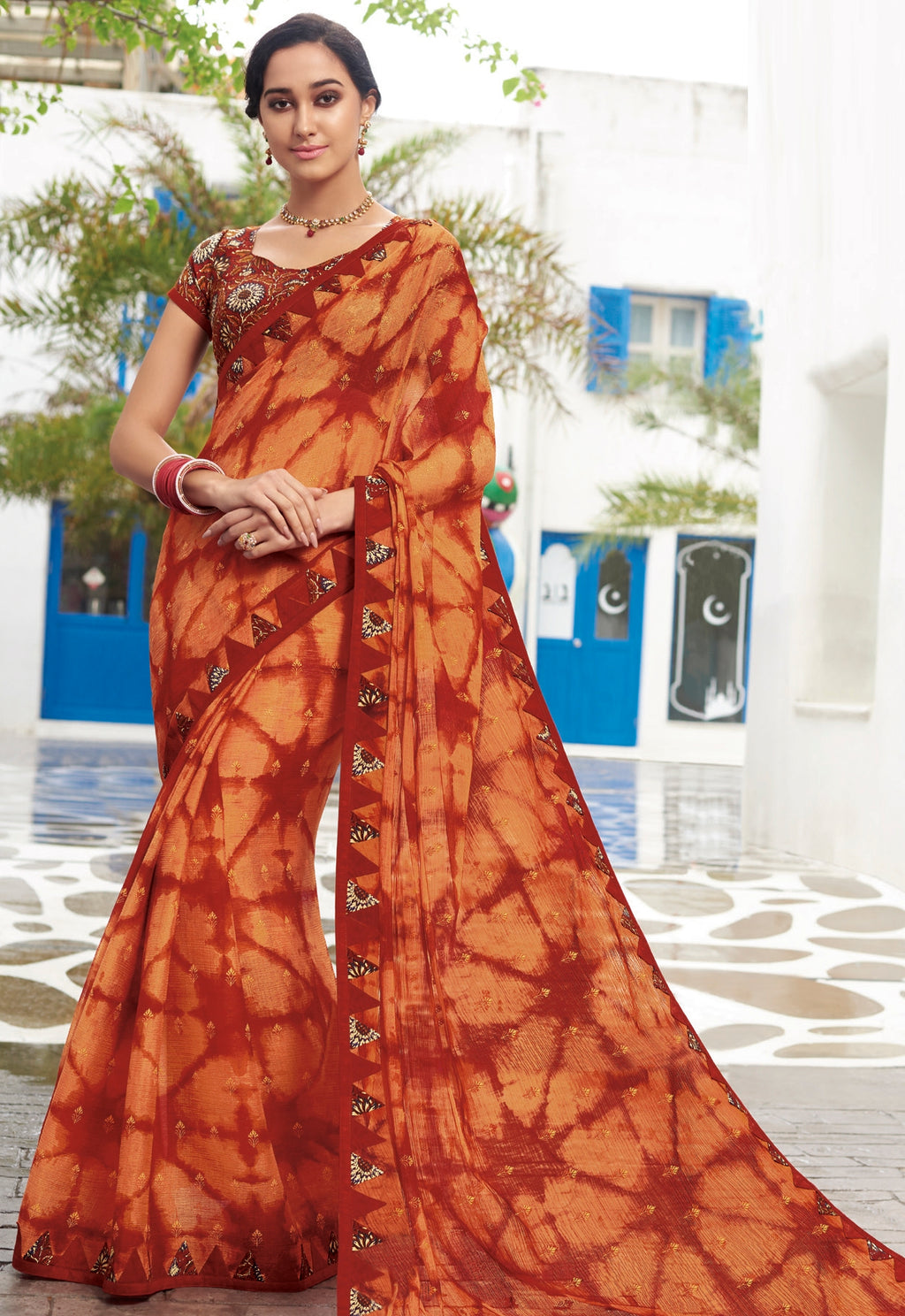 Orange & Red Color Chiffon Designer Party Wear Sarees  Laxmipati Pankhudi Catlog SJ-10410
