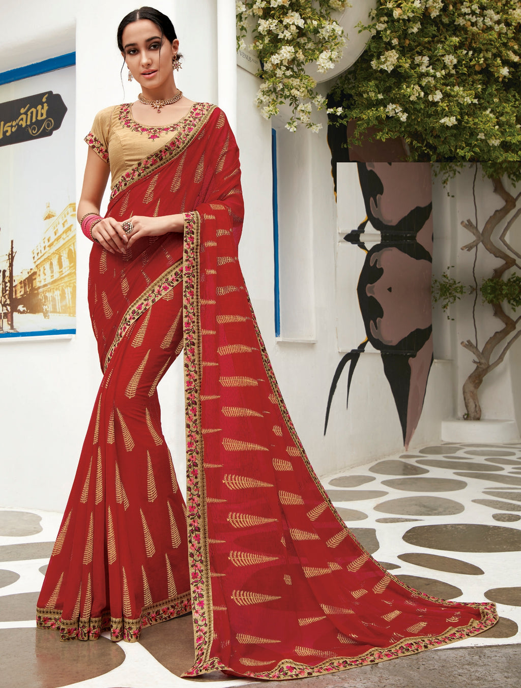 Red Color Chiffon Designer Party Wear Sarees  Laxmipati Pankhudi Catlog SJ-10414