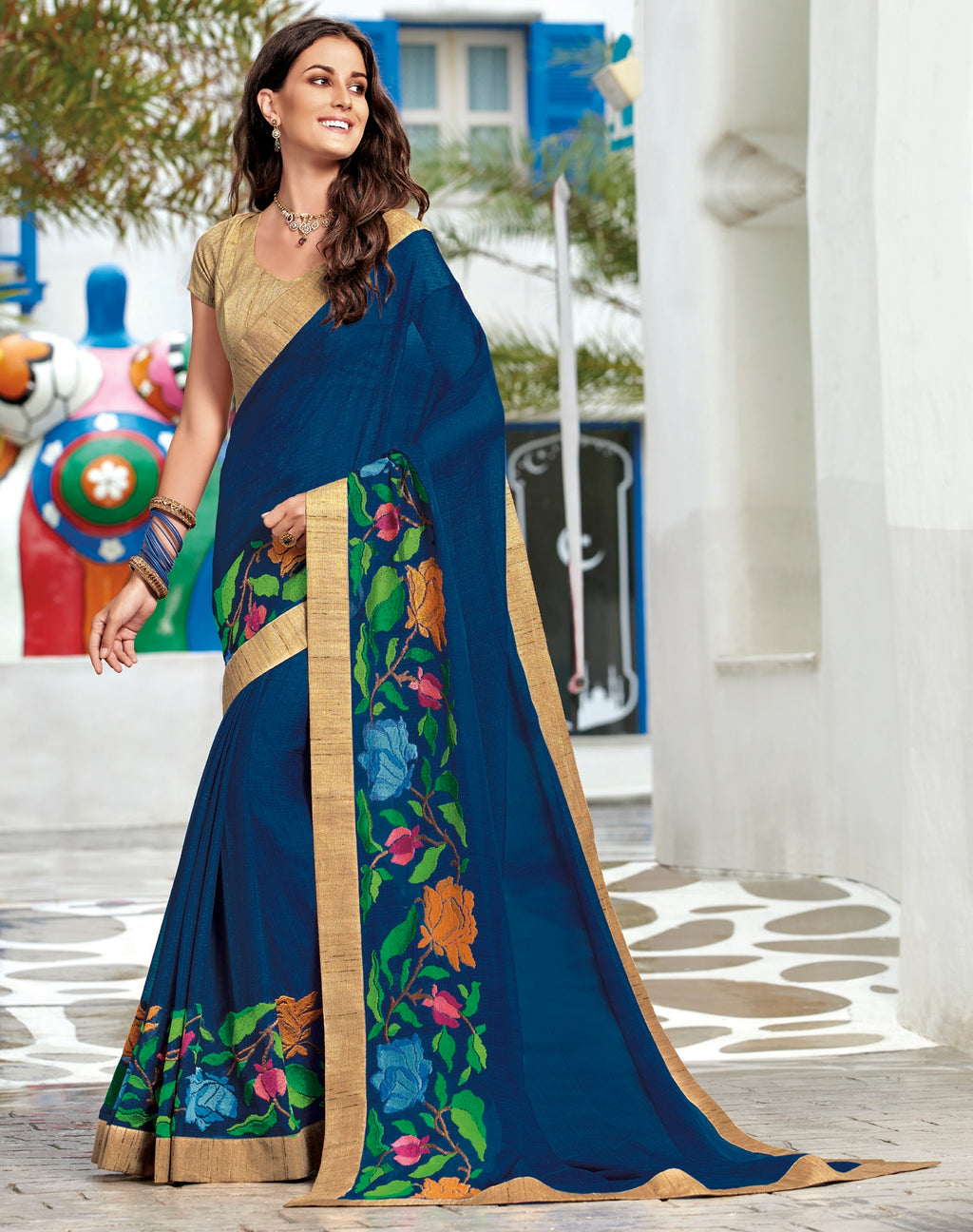 Blue Color Chiffon Designer Party Wear Sarees  Laxmipati Pankhudi Catlog SJ-10415