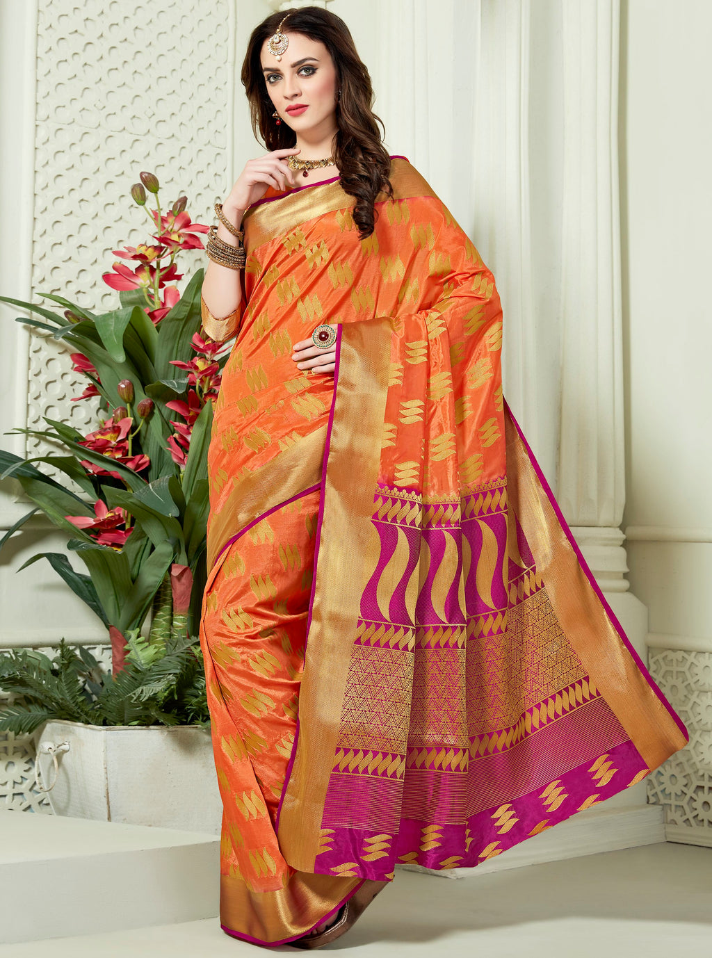 Orange Color Art Silk Designer Party Wear Sarees  Dangal2 Catlog SJ-10149