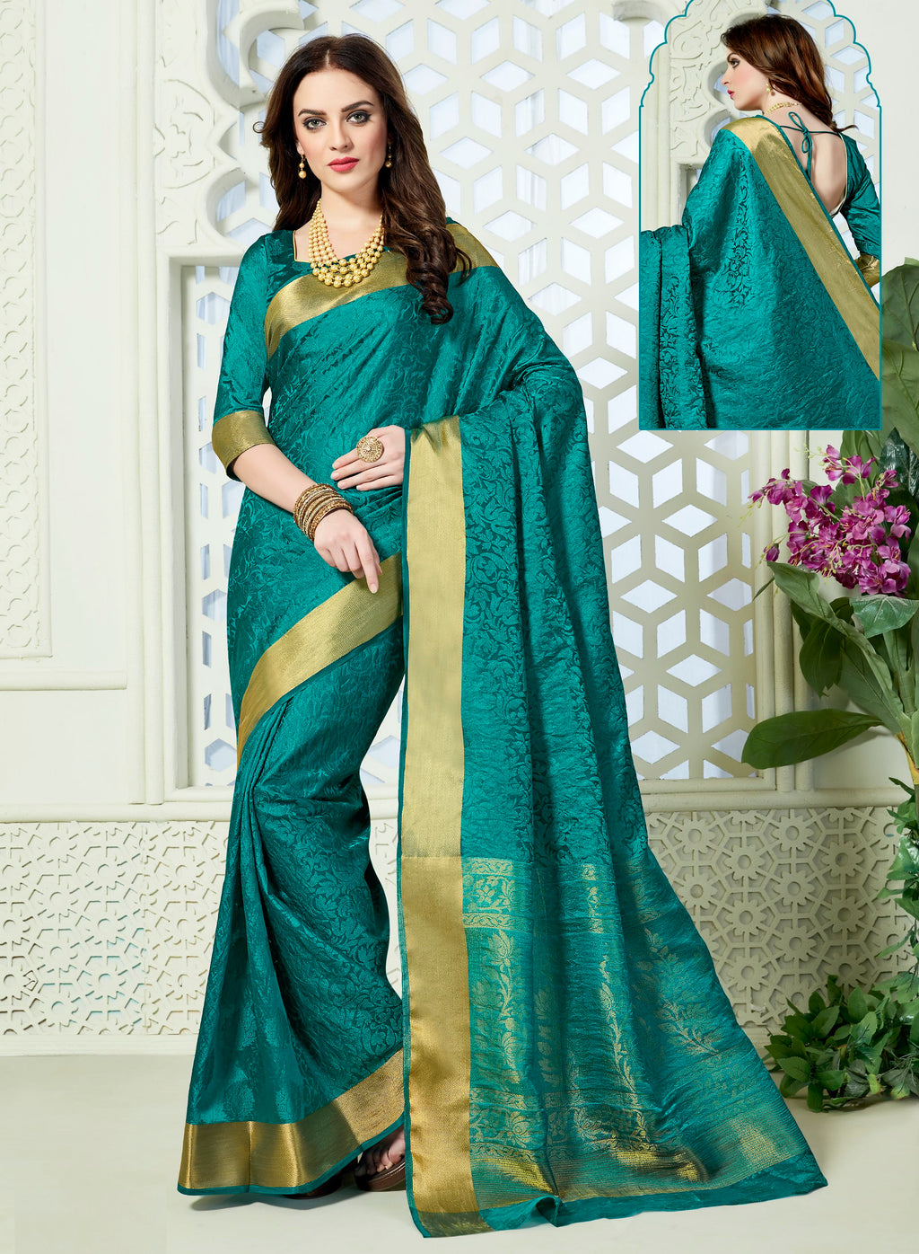 Rama Green Color Jacquard Art Silk Designer Party Wear Sarees  Dangal2 Catlog SJ-10151