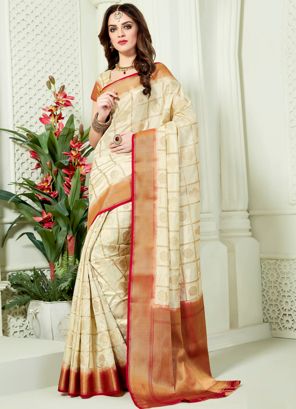Cream Color Art Silk Designer Party Wear Sarees  Dangal2 Catlog SJ-10154