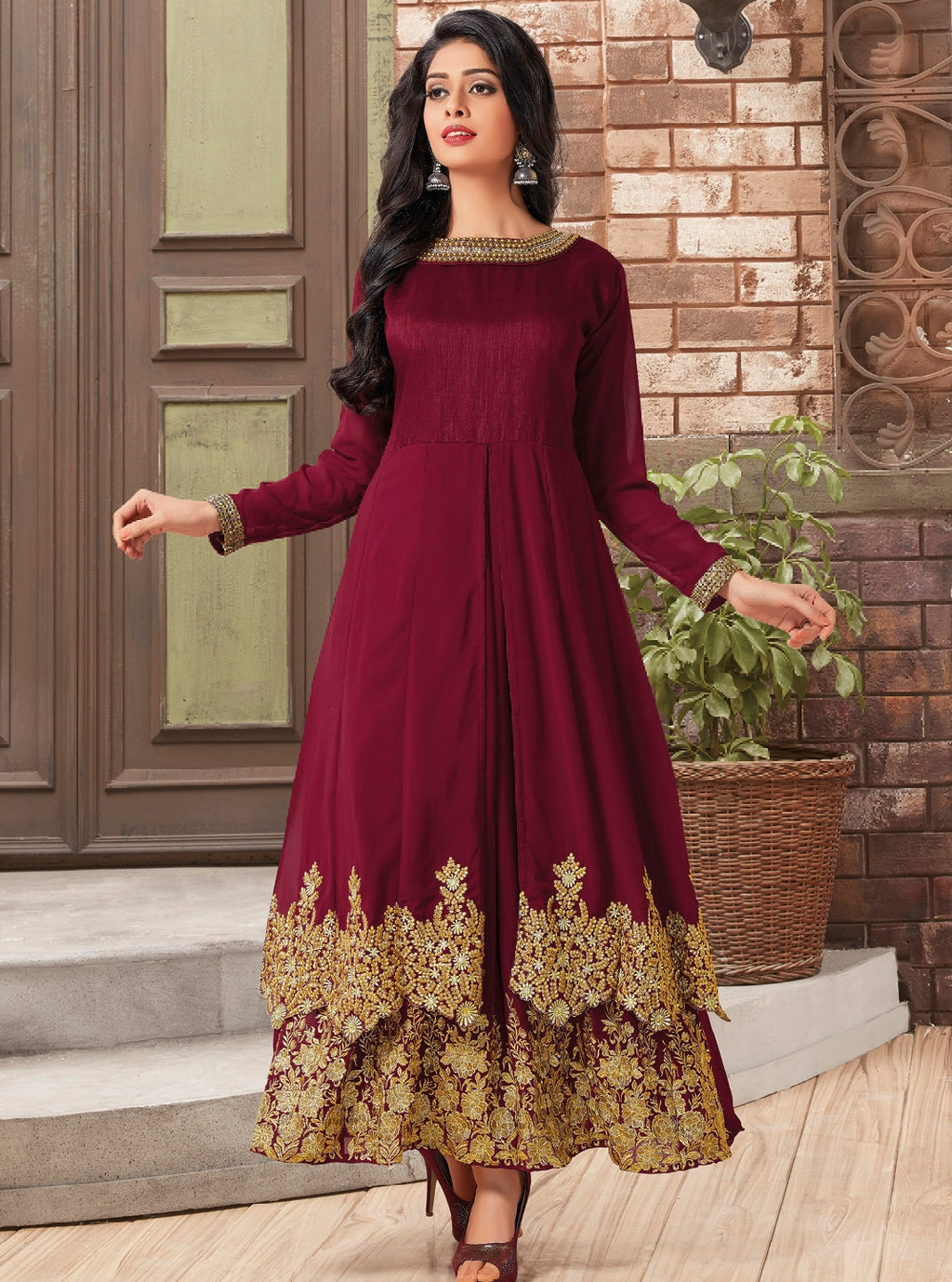 Maroon Color Georgette Readymade Festive Wear Kurtis With Dupatta ( Sizes - 40,42) Odhani Catlog SJ-5933