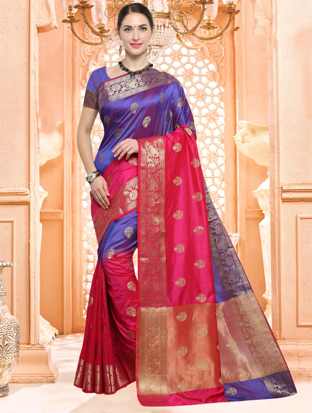 Blue & Pink Color Tusser Silk Designer Function Wear Sarees  Jalsa  Catlog SJ-4953