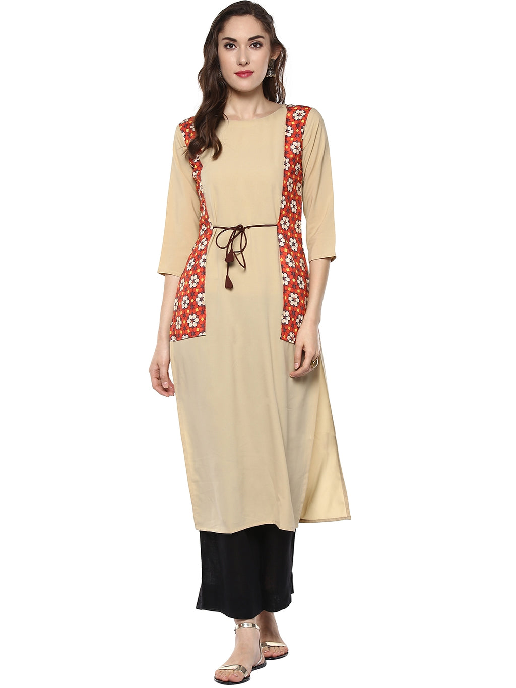 Beige Color Crepe Readymade Party Wear Kurtis ( Sizes-36,38,40,42,44) Janasya Catlog SJ-5466