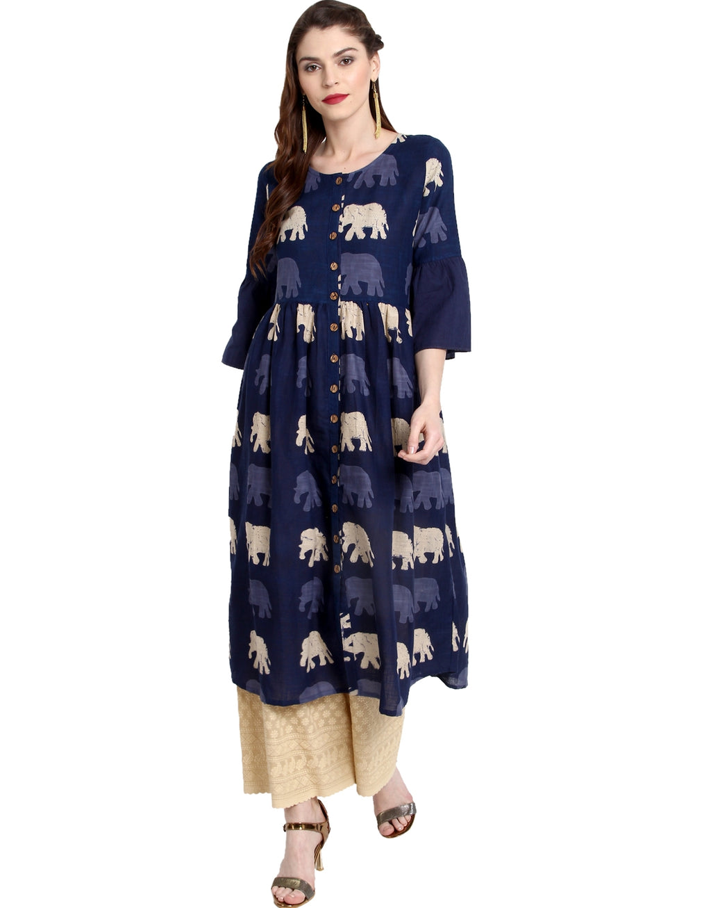 Firozi Color Cotton Readymade Party Wear Kurtis ( Sizes-36,38,40,42,44) Janasya Catlog SJ-10194