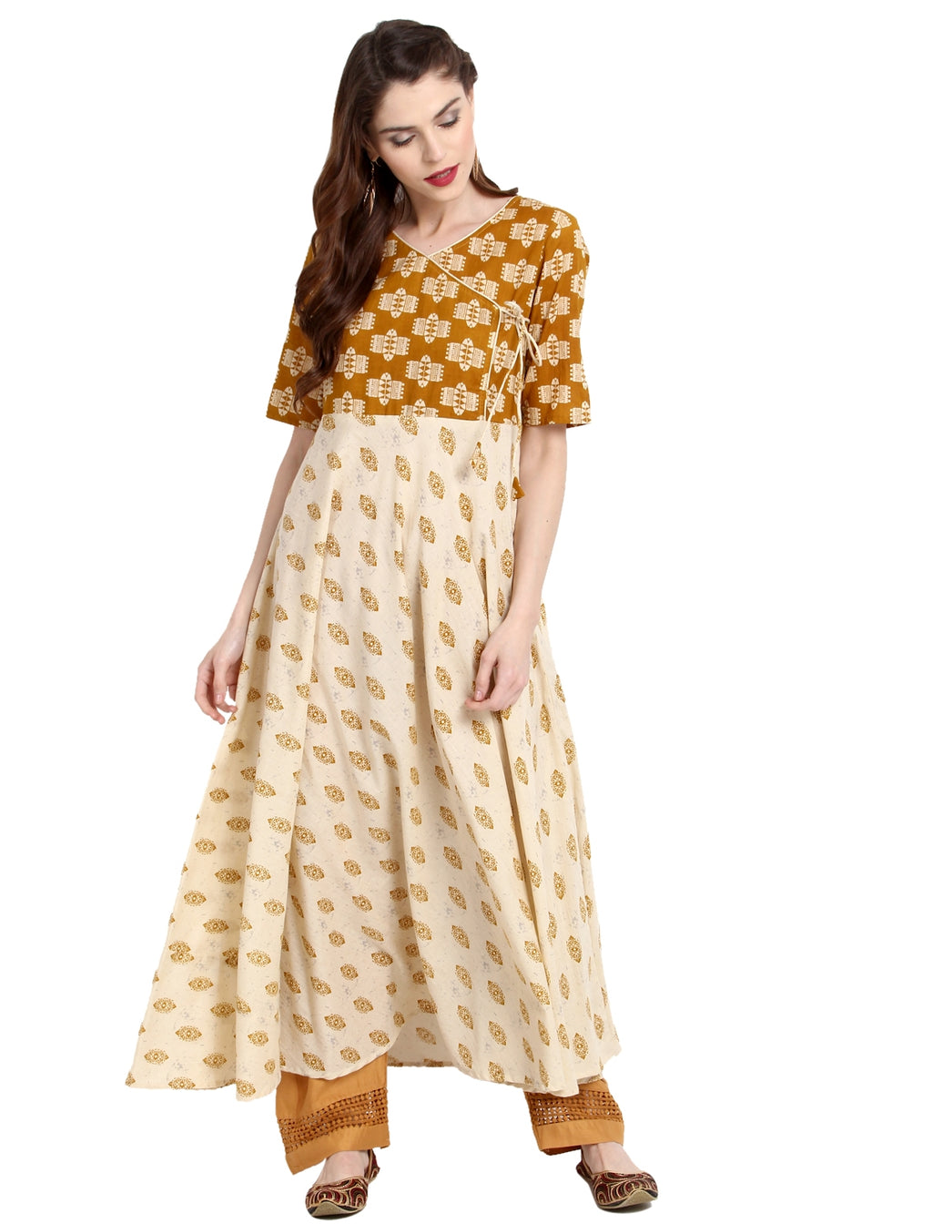 Cream Color Cotton Readymade Party Wear Kurtis ( Sizes-36,38,40,42,44) Janasya Catlog SJ-10199
