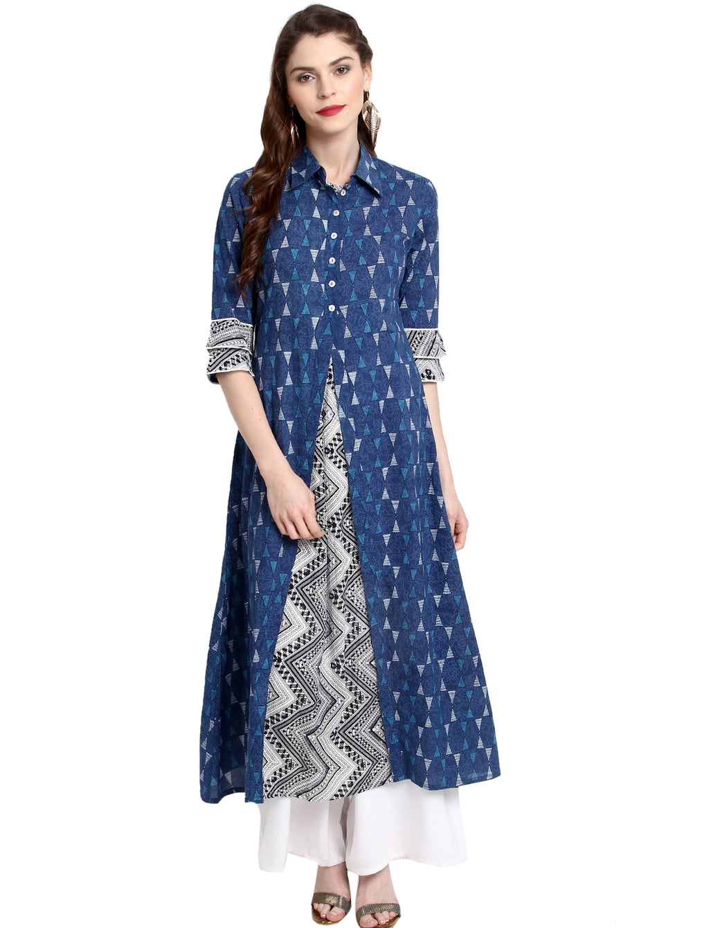 Blue Color Cotton Readymade Party Wear Kurtis ( Sizes-36,38,40,42,44) Janasya Catlog SJ-10204