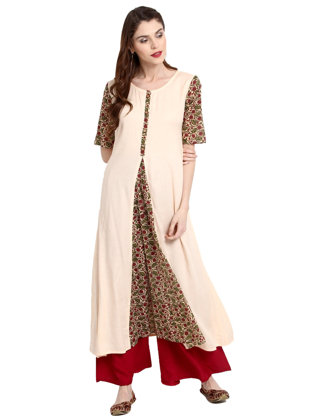 Cream  Color Rayon Readymade Party Wear Kurtis ( Sizes-36,38,40,42,44) Janasya Catlog SJ-10209