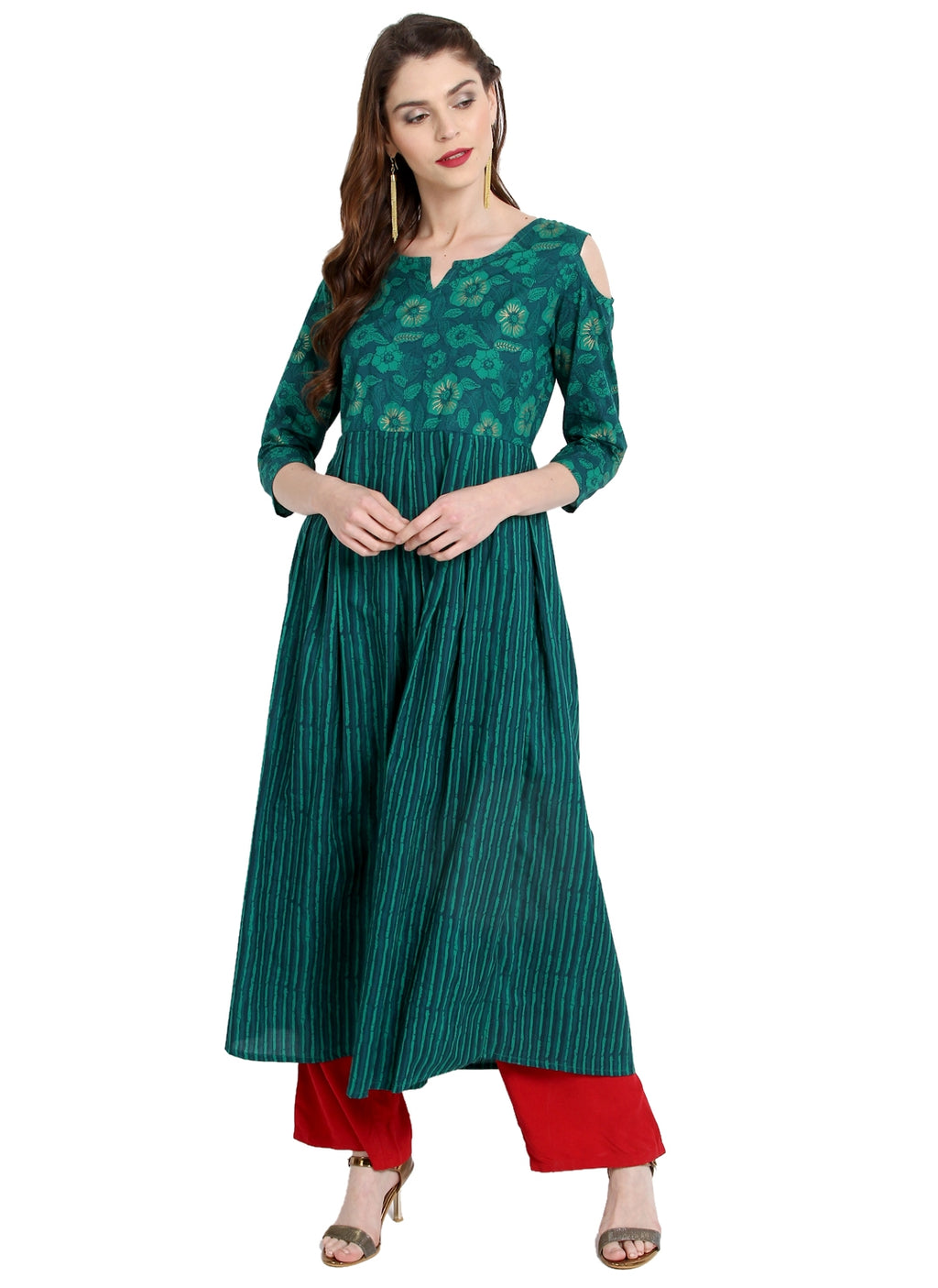 Green Color Cotton Readymade Party Wear Kurtis ( Sizes-36,38,40,42,44) Janasya Catlog SJ-10214