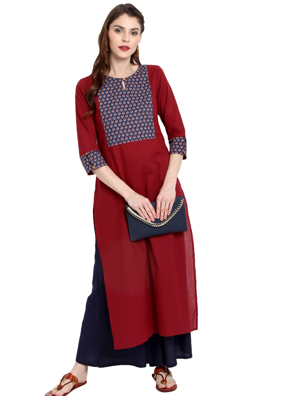 Red Color Cotton Readymade Party Wear Kurtis ( Sizes-36,38,40,42,44) Janasya Catlog SJ-10219