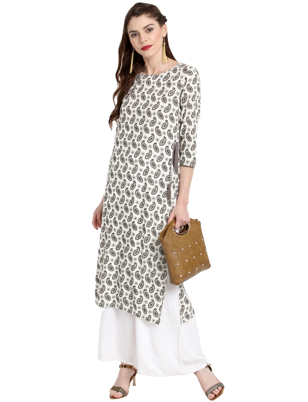 White Color Rayon Readymade Party Wear Kurtis ( Sizes-36,38,40,42,44) Janasya Catlog SJ-10224