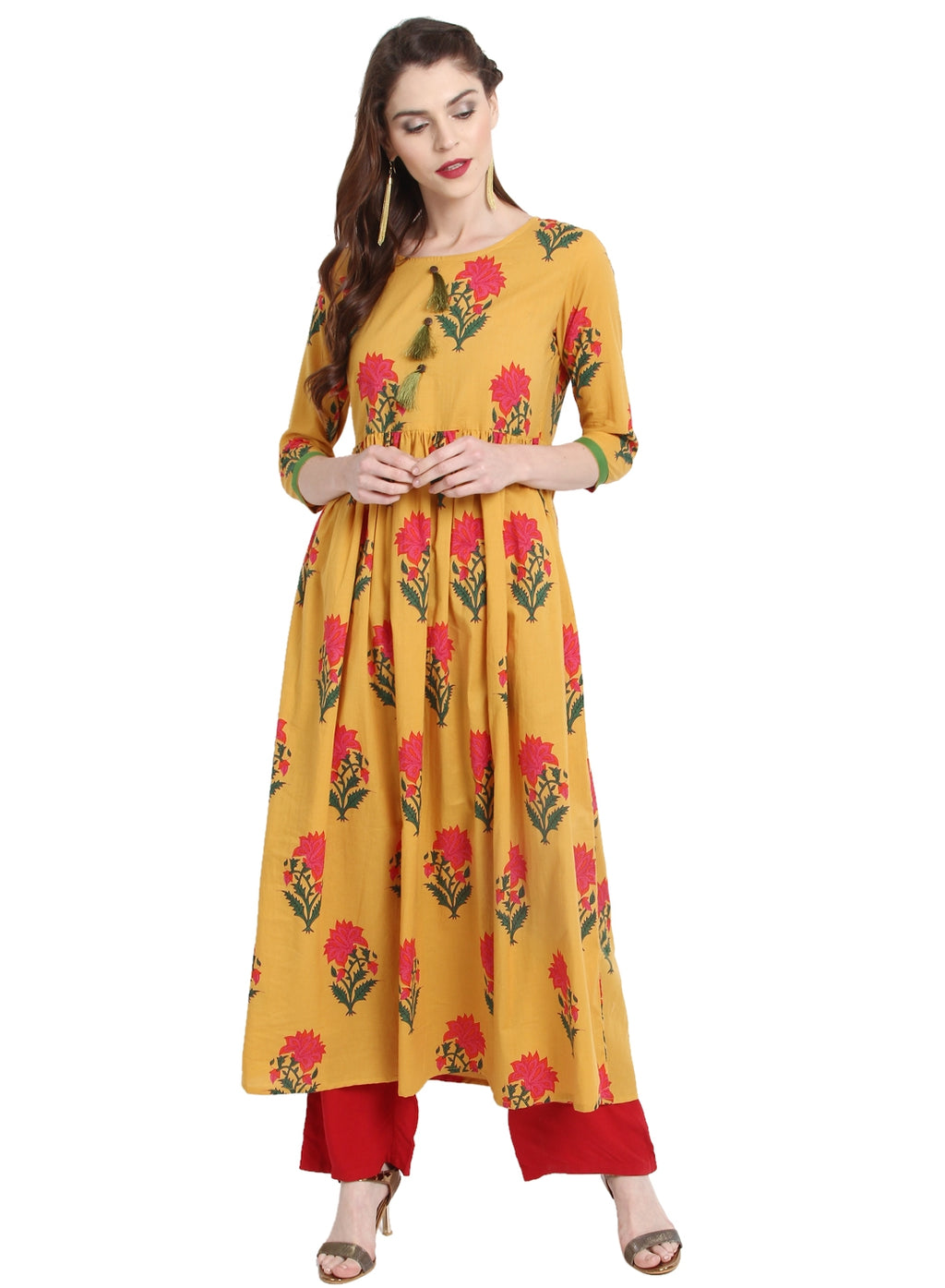 Yellow Color Cotton Readymade Party Wear Kurtis ( Sizes-36,38,40,42,44) Janasya Catlog SJ-10229