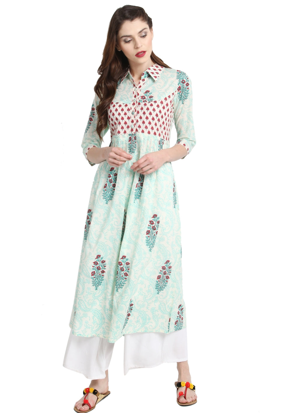 Cream & Sea Green Color Cotton Readymade Party Wear Kurtis ( Sizes-36,38,40,42,44) Janasya Catlog SJ-10234