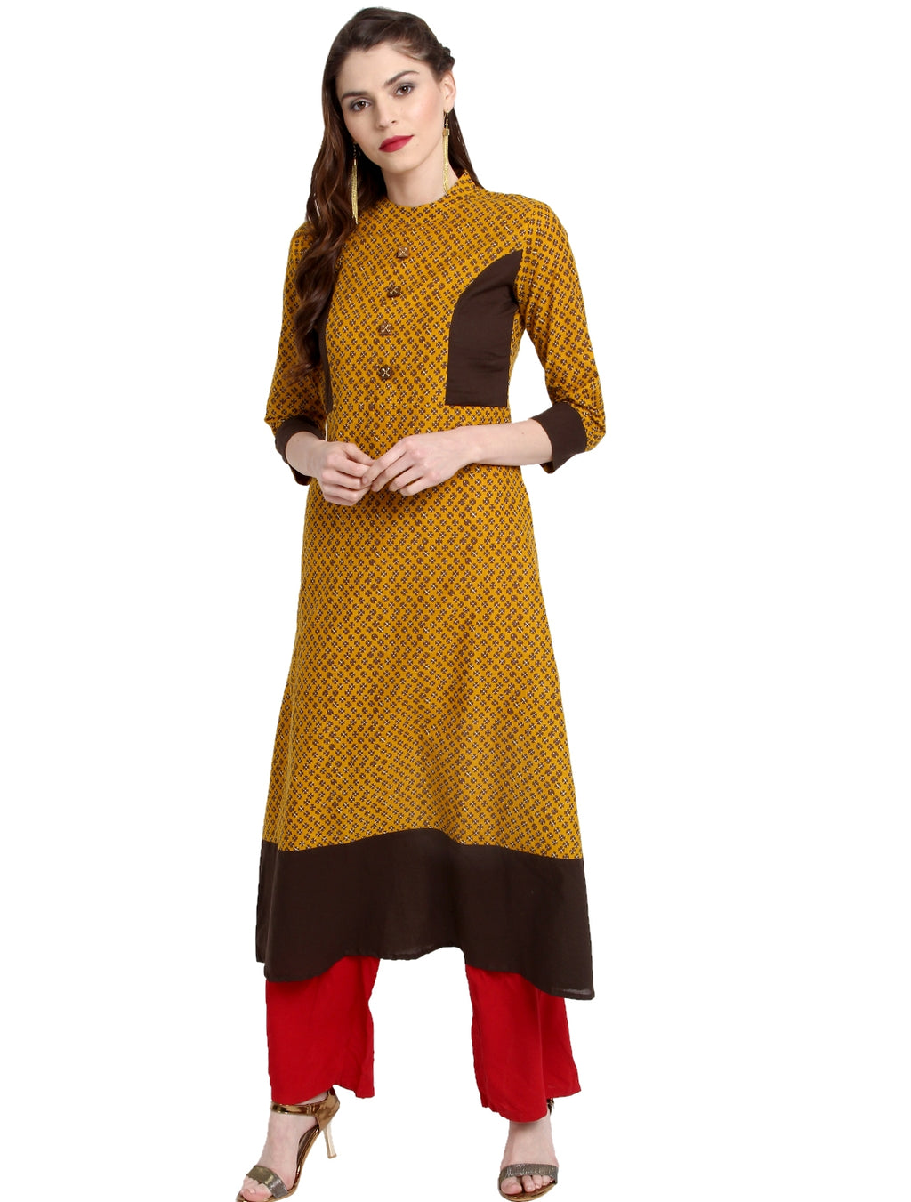 Mustard Yellow Color Cotton Readymade Party Wear Kurtis ( Sizes-36,38,40,42,44) Janasya Catlog SJ-10239