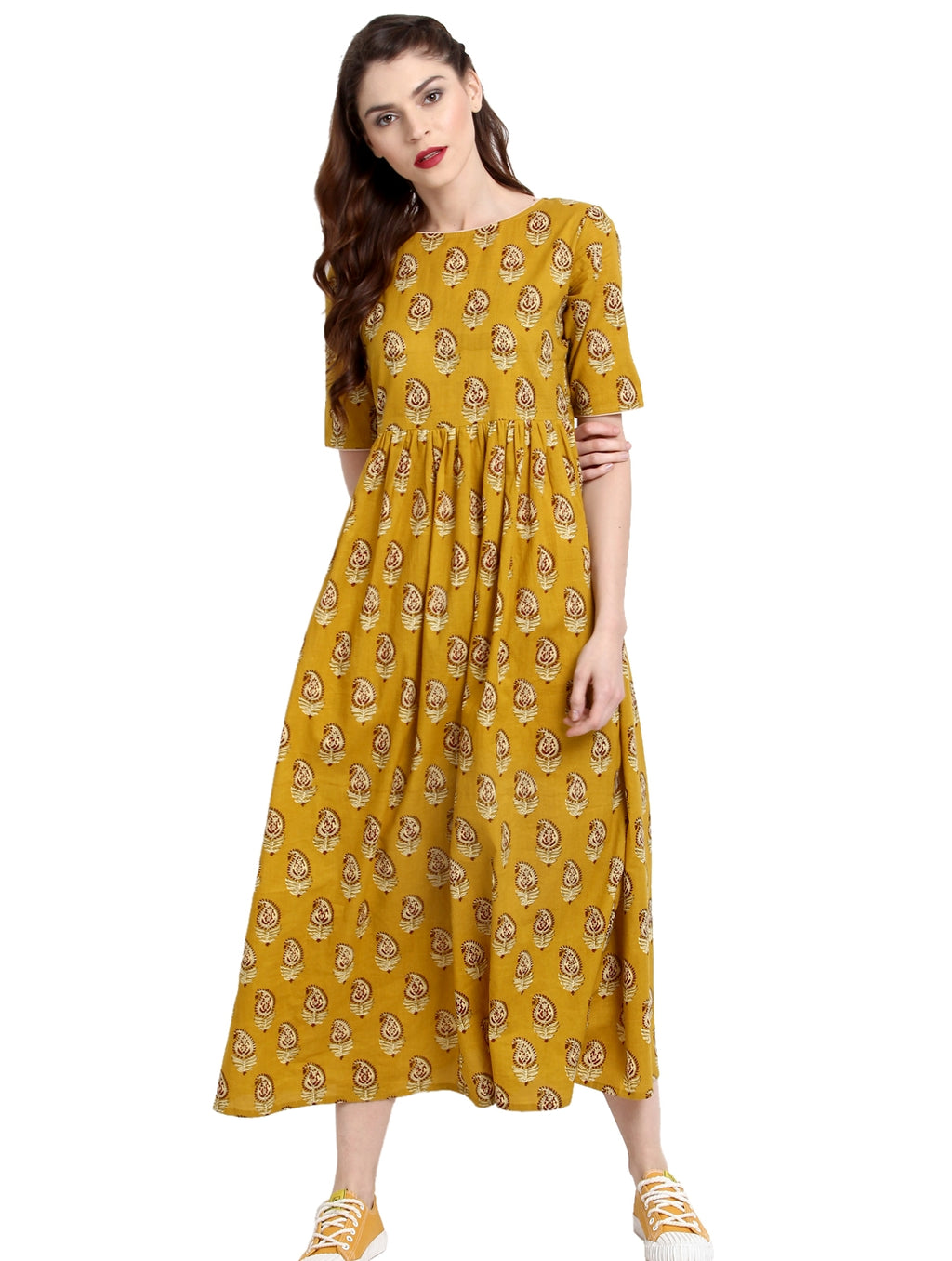 Mustard Yellow Color Cotton Readymade Party Wear Kurtis ( Sizes-36,38,40,42,44) Janasya Catlog SJ-10244