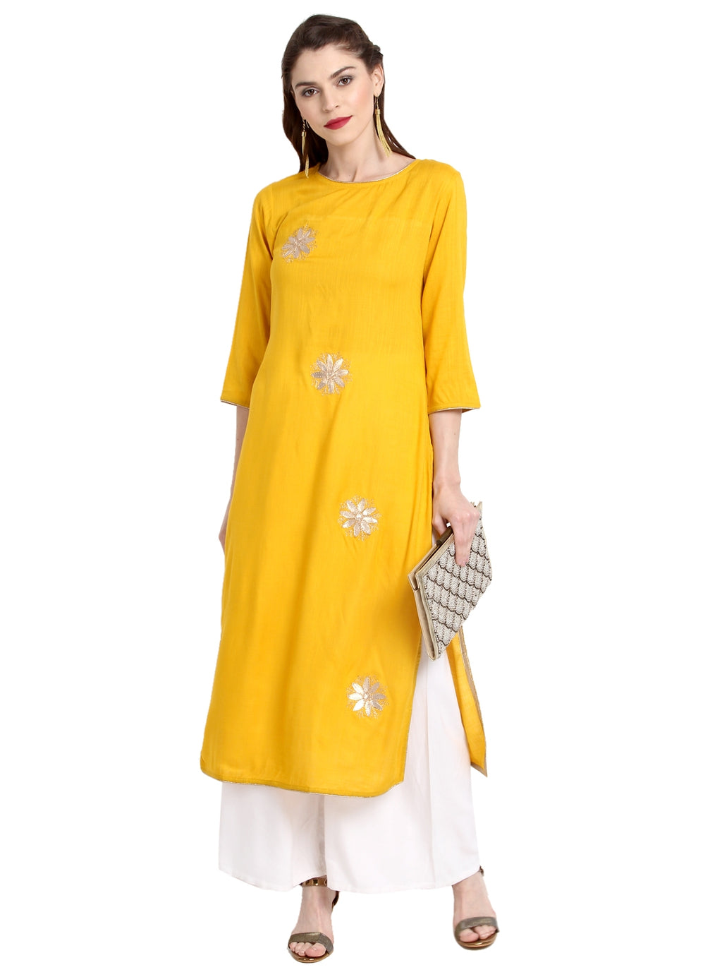 Yellow Color Cotton Readymade Party Wear Kurtis ( Sizes-36,38,40,42,44) Janasya Catlog SJ-10249
