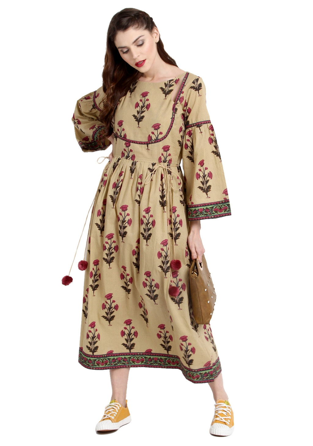Beige Color Cotton Readymade Party Wear Kurtis ( Sizes-36,38,40,42,44) Janasya Catlog SJ-10254