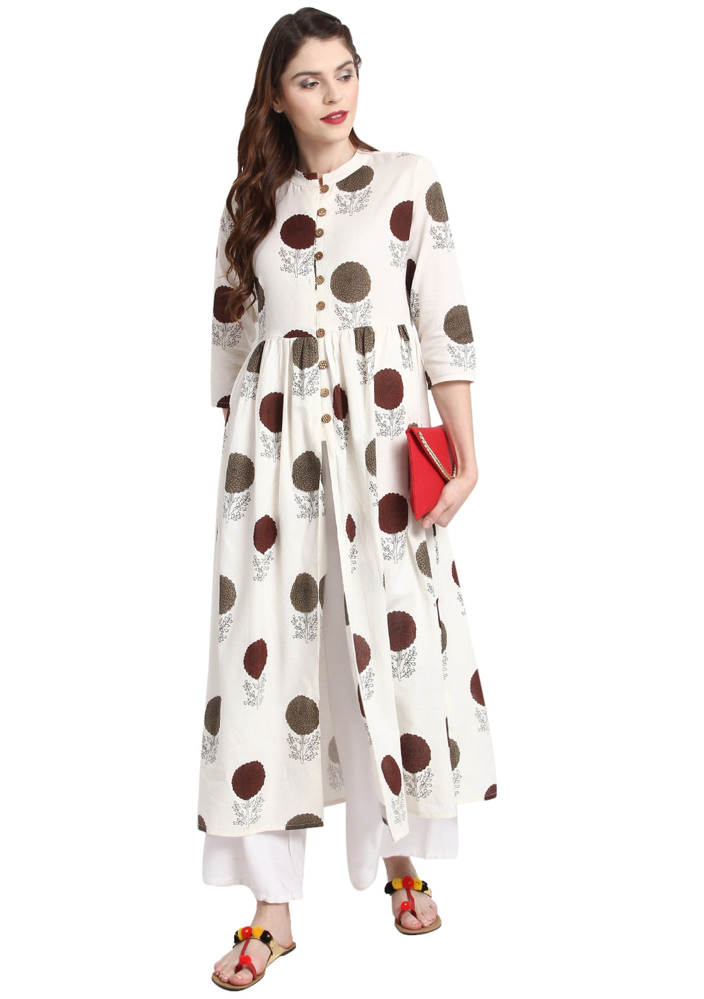 White Color Cotton Readymade Party Wear Kurtis ( Sizes-36,38,40,42,44) Janasya Catlog SJ-10259