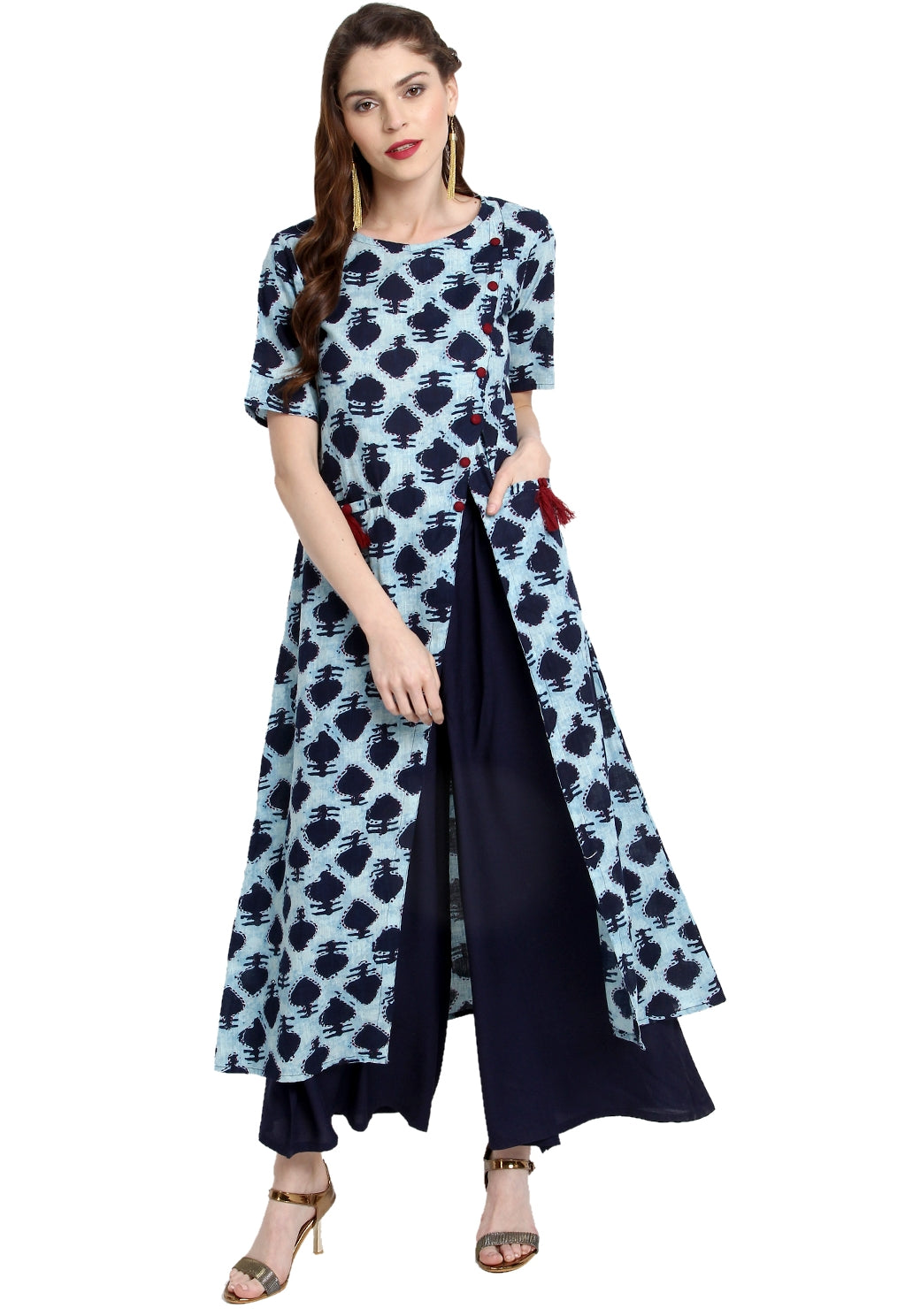 Blue Color Cotton Readymade Party Wear Kurtis ( Sizes-36,38,40,42,44) Janasya Catlog SJ-10264