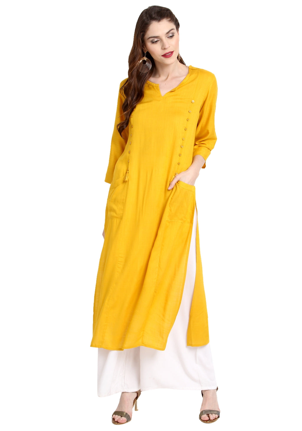 Yellow Color Rayon Readymade Party Wear Kurtis ( Sizes-36,38,40,42,44) Janasya Catlog SJ-10269