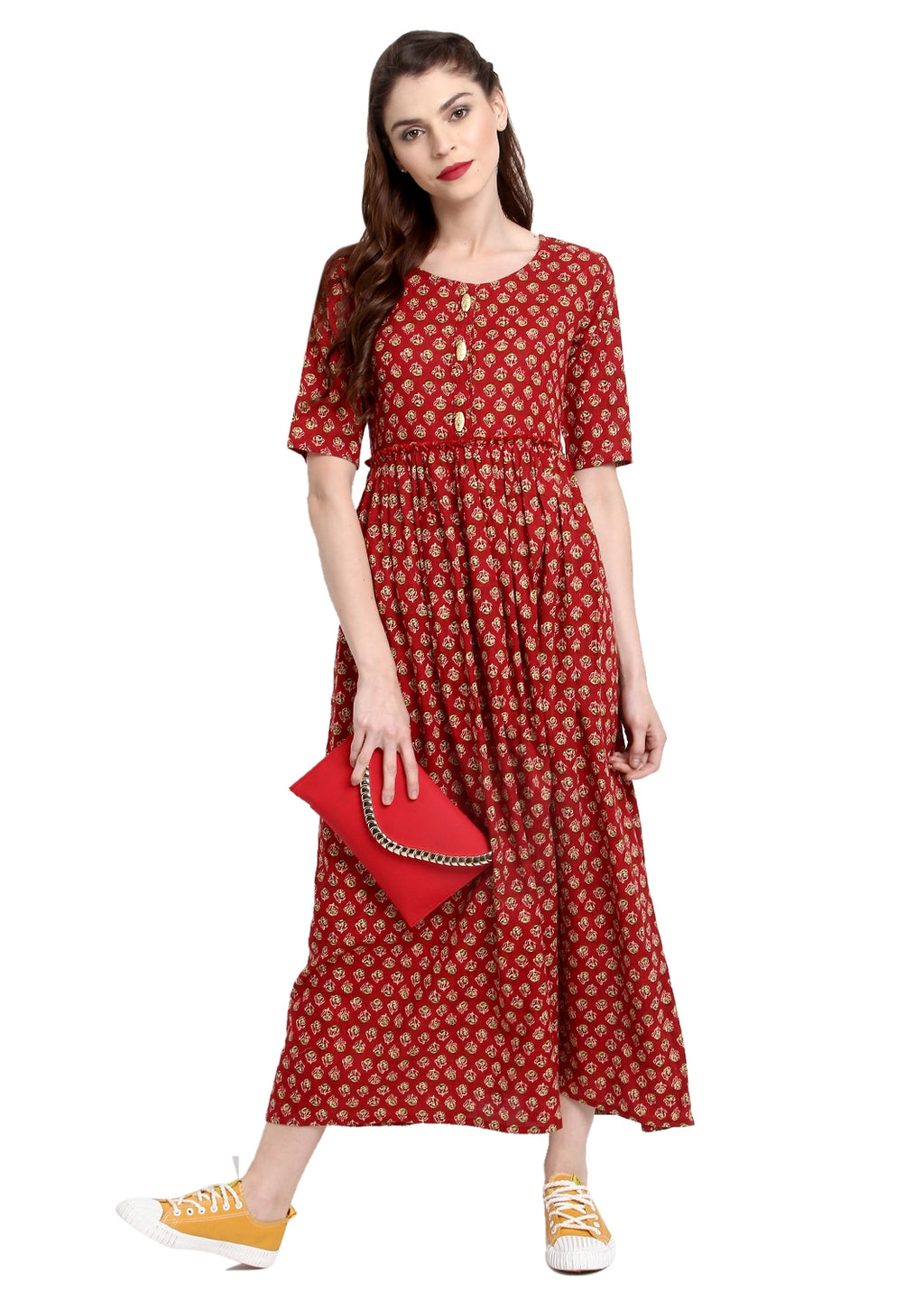 Red Color Cotton Readymade Party Wear Kurtis ( Sizes-36,38,40,42,44) Janasya Catlog SJ-10279