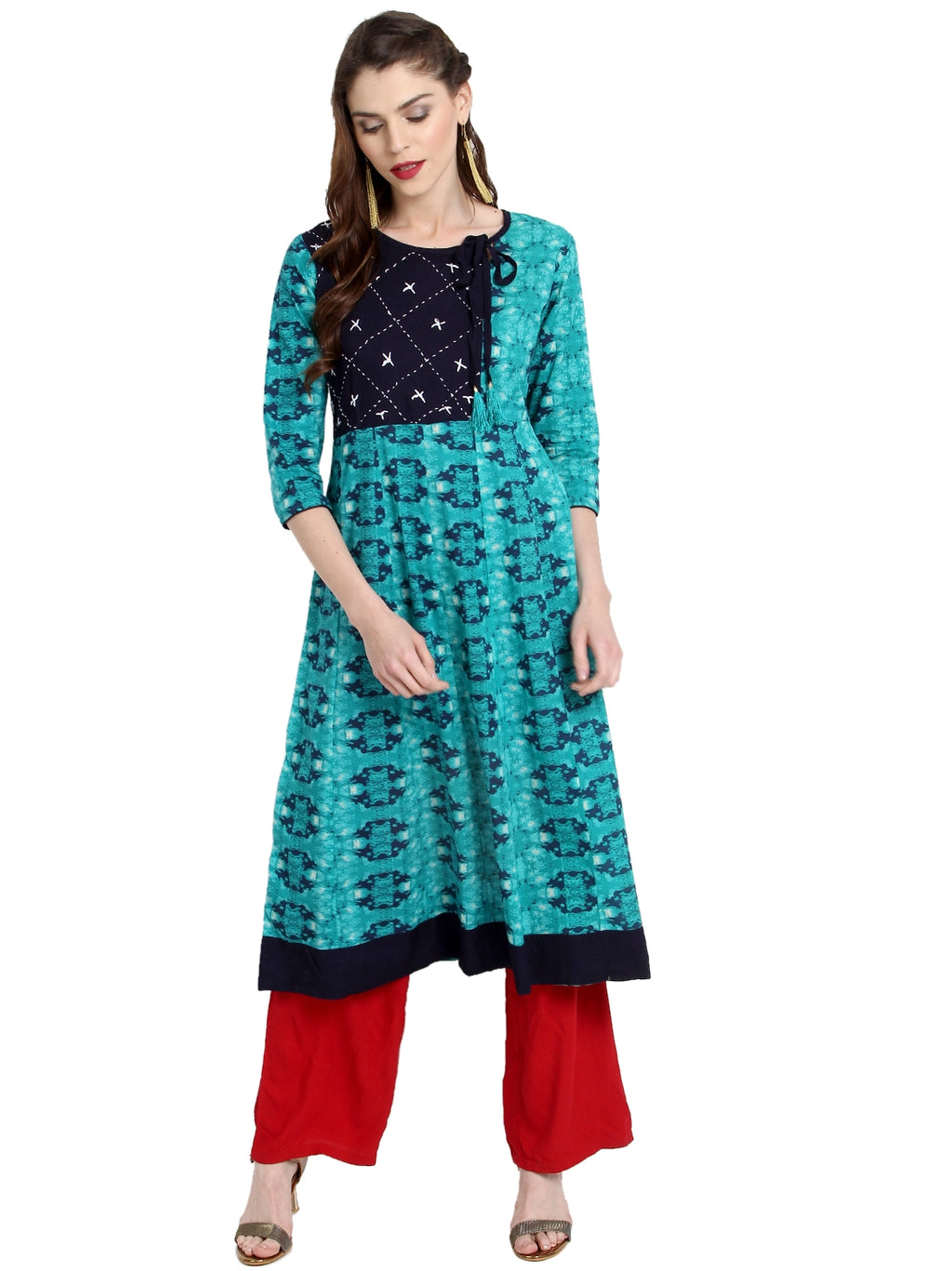 Firozi Color Cotton Readymade Party Wear Kurtis ( Sizes-36,38,40,42,44) Janasya Catlog SJ-10284