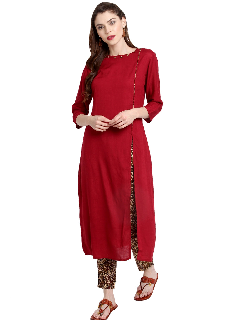 Red Color Rayon Readymade Party Wear Kurtis ( Sizes-36,38,40,42,44) Janasya Catlog SJ-10289