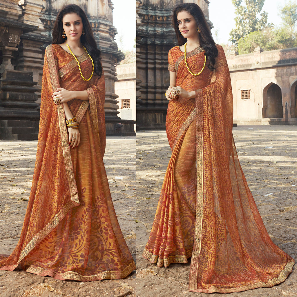 Brown Color Brasso Designer Party Wear Sarees  Velika Glamorous2 Catlog SJ-10315