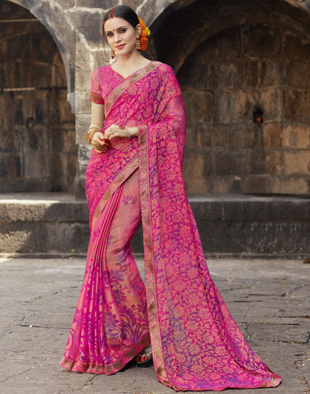 Pink Color Brasso Designer Party Wear Sarees  Velika Glamorous2 Catlog SJ-10316