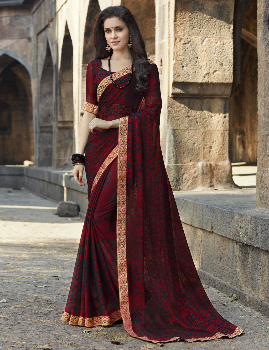 Maroon Color Brasso Designer Party Wear Sarees  Velika Glamorous2 Catlog SJ-10320