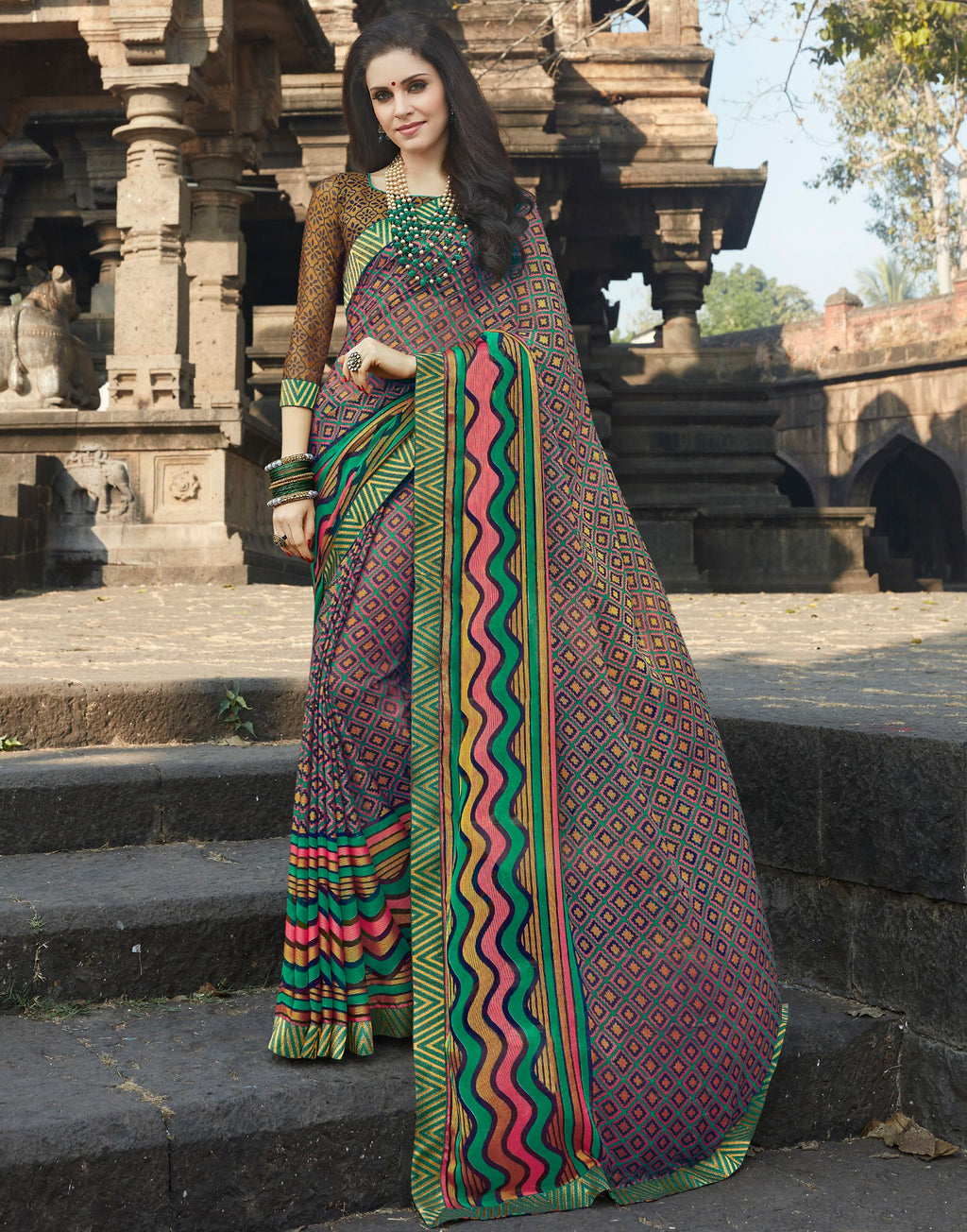 Multi Color Brasso Designer Party Wear Sarees  Velika Glamorous2 Catlog SJ-10321