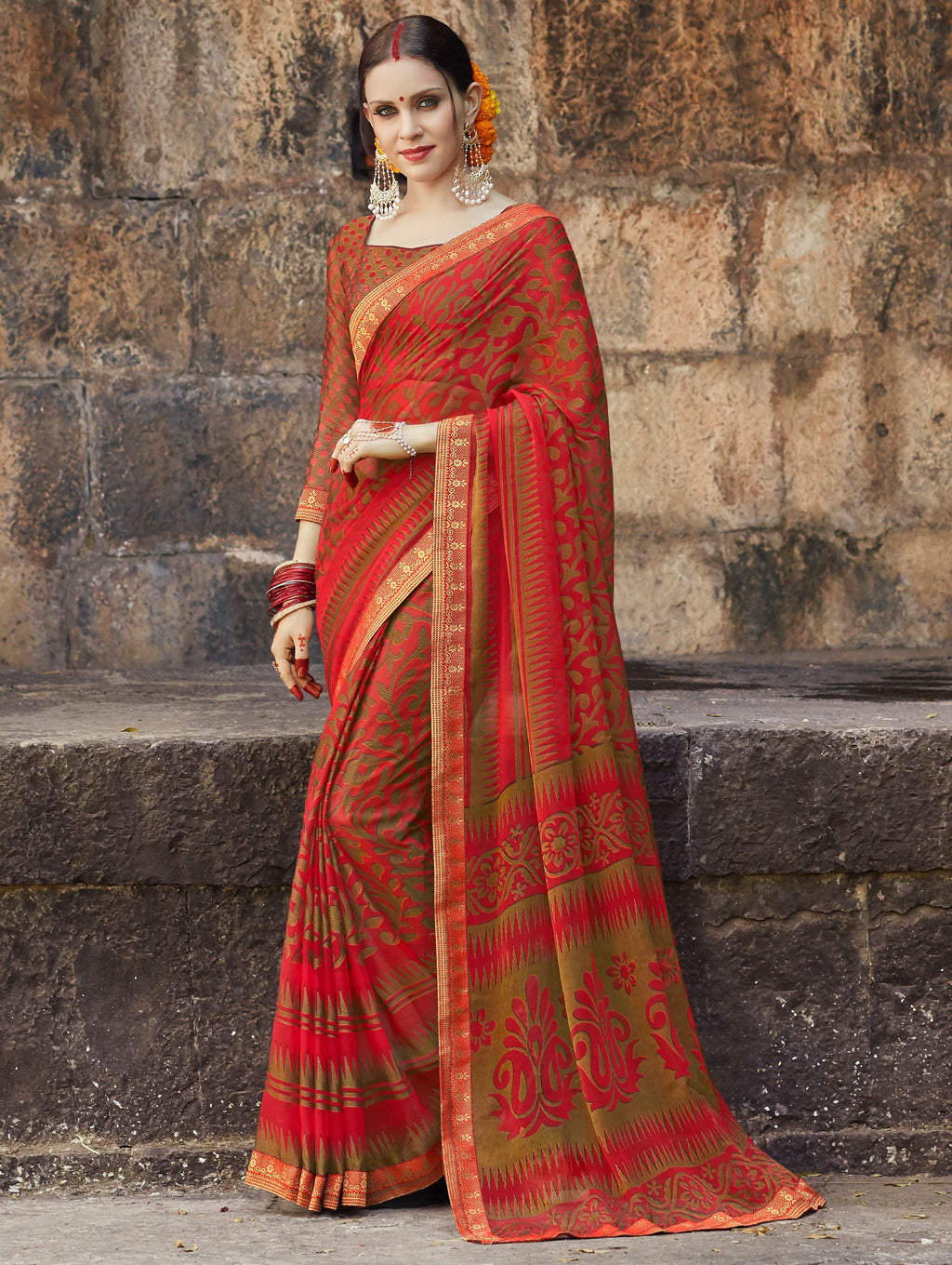 Sindoori Color Brasso Designer Party Wear Sarees  Velika Glamorous2 Catlog SJ-10322